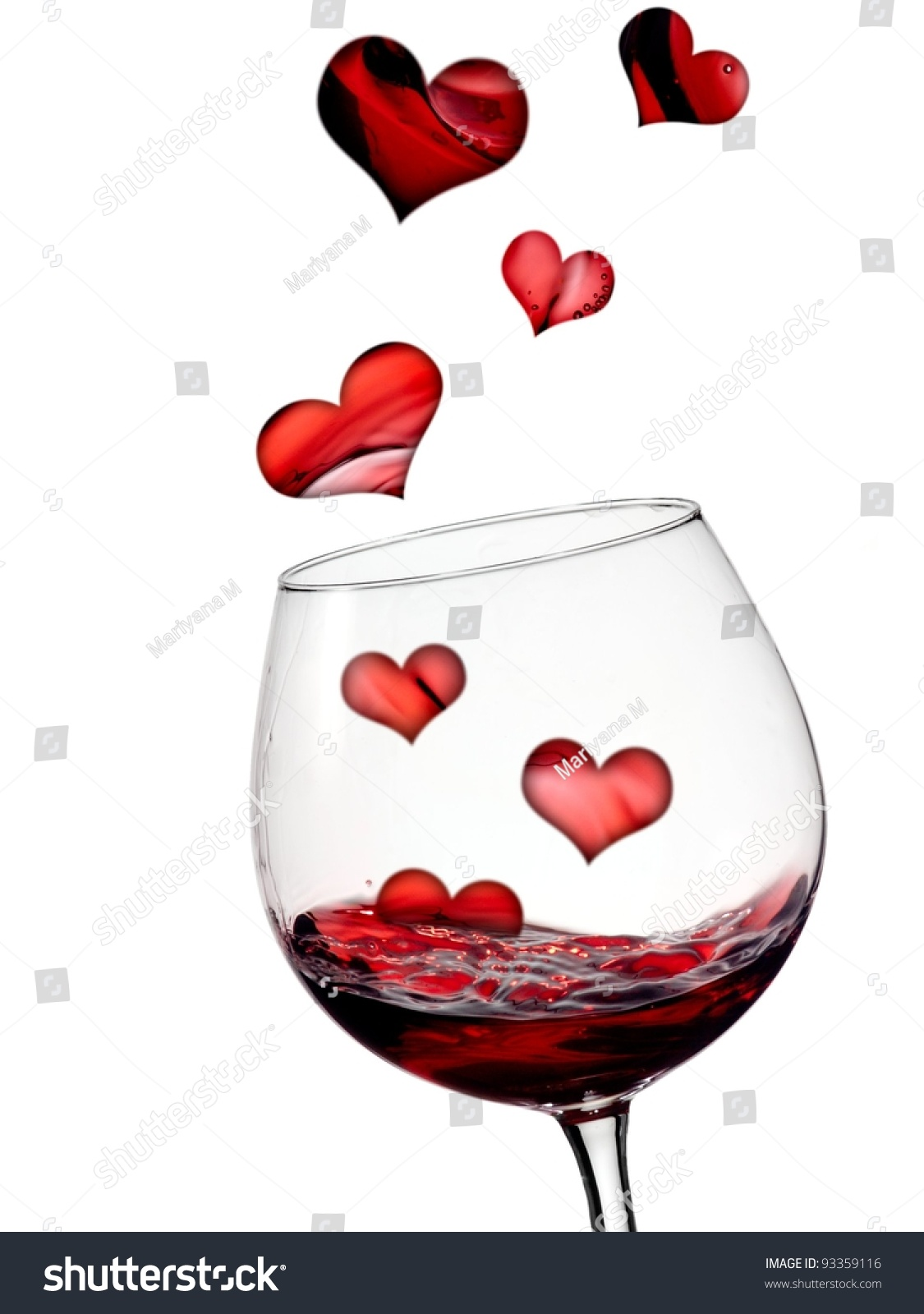 Where To Find Wine Glasses Hearts Flying In Glass With Red Wine Stock Photo 93359116