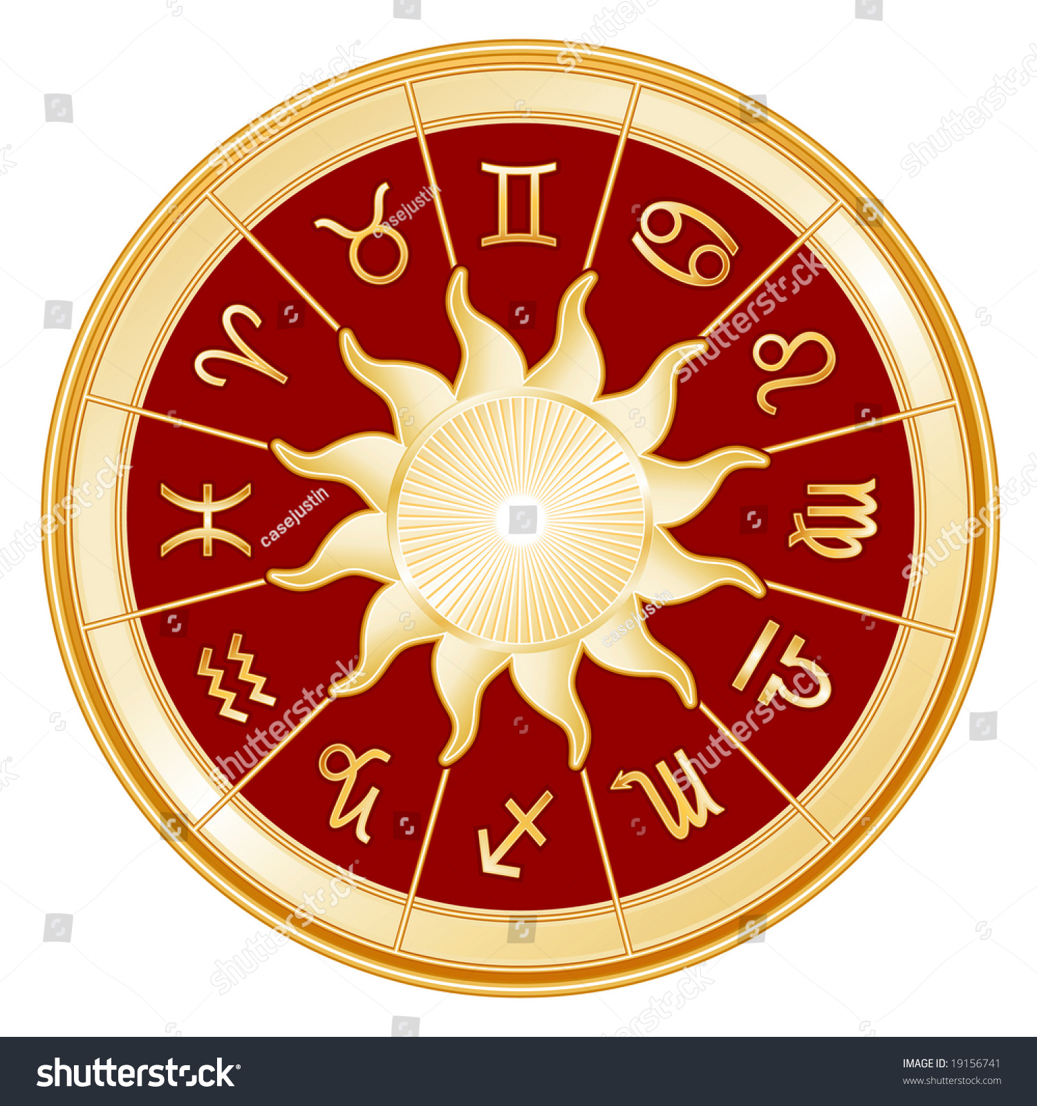 Red Libra Horoscope Signs Zodiac 12 Astrology Symbols Stock