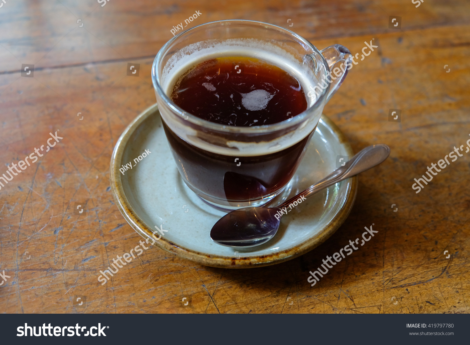 Americano Coffee English Hot Americano Coffee On Wooden Table Stock Photo 419797780