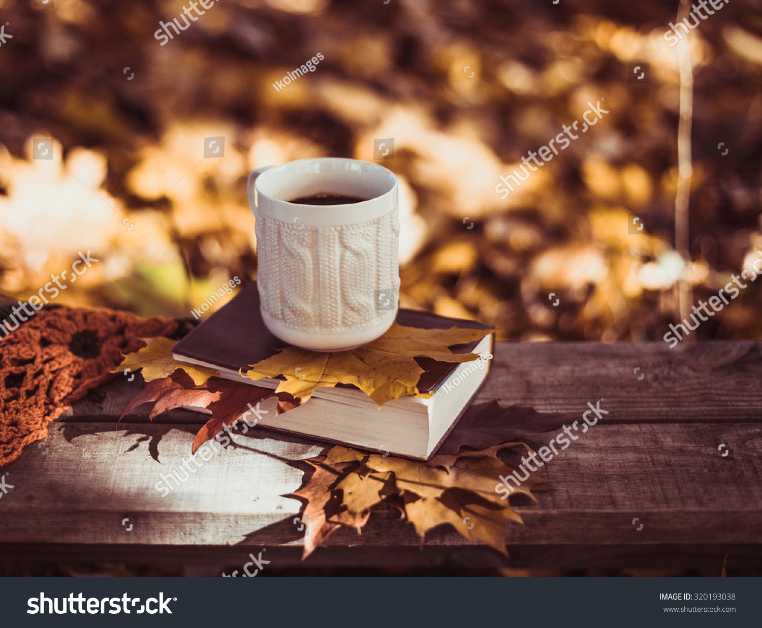Coffee Art Livre Hot Coffee Red Book Autumn Leaves Stock Photo 320193038