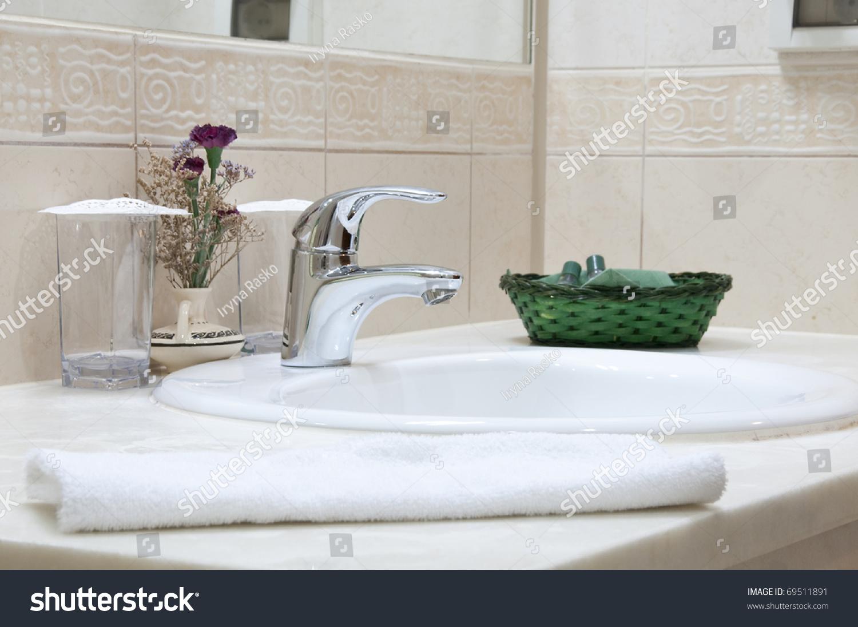 Hotel Bathroom Sink Tap Towel Bathroom Stock Photo