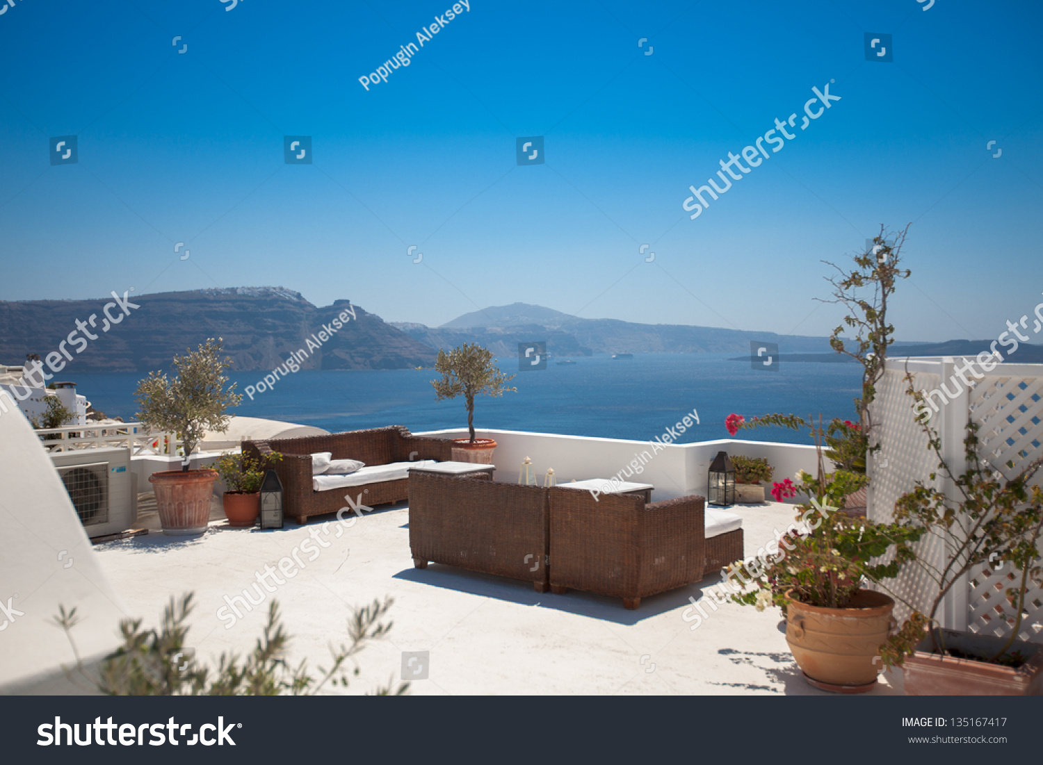 Sofa House Greece Hotel Terrace Sofas Beautiful View Seaside Stock Photo Edit Now