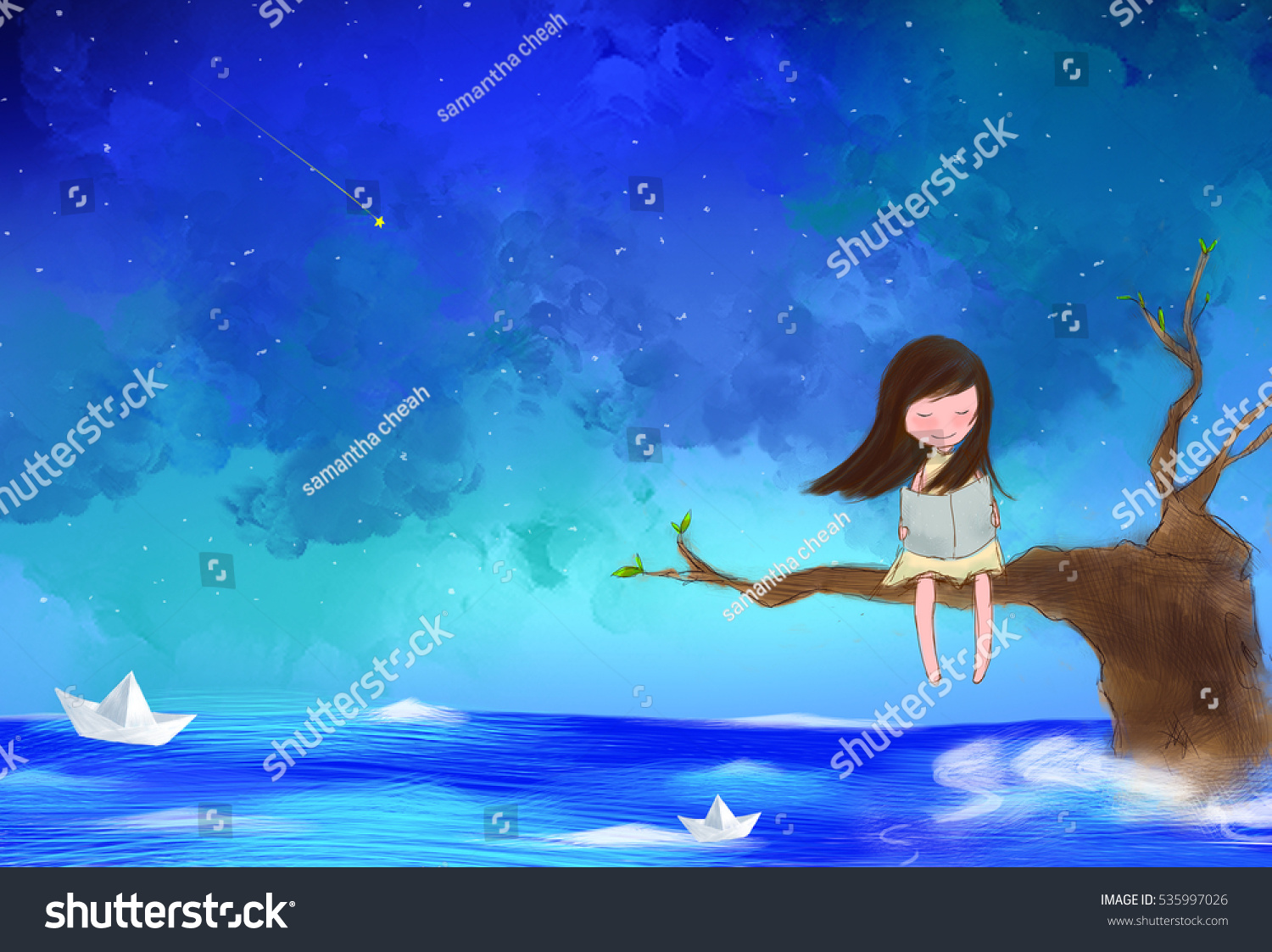 Girl In A Tree Reading A Book Wallpaper Illustration Water Color Drawing Lonely Girl Stock