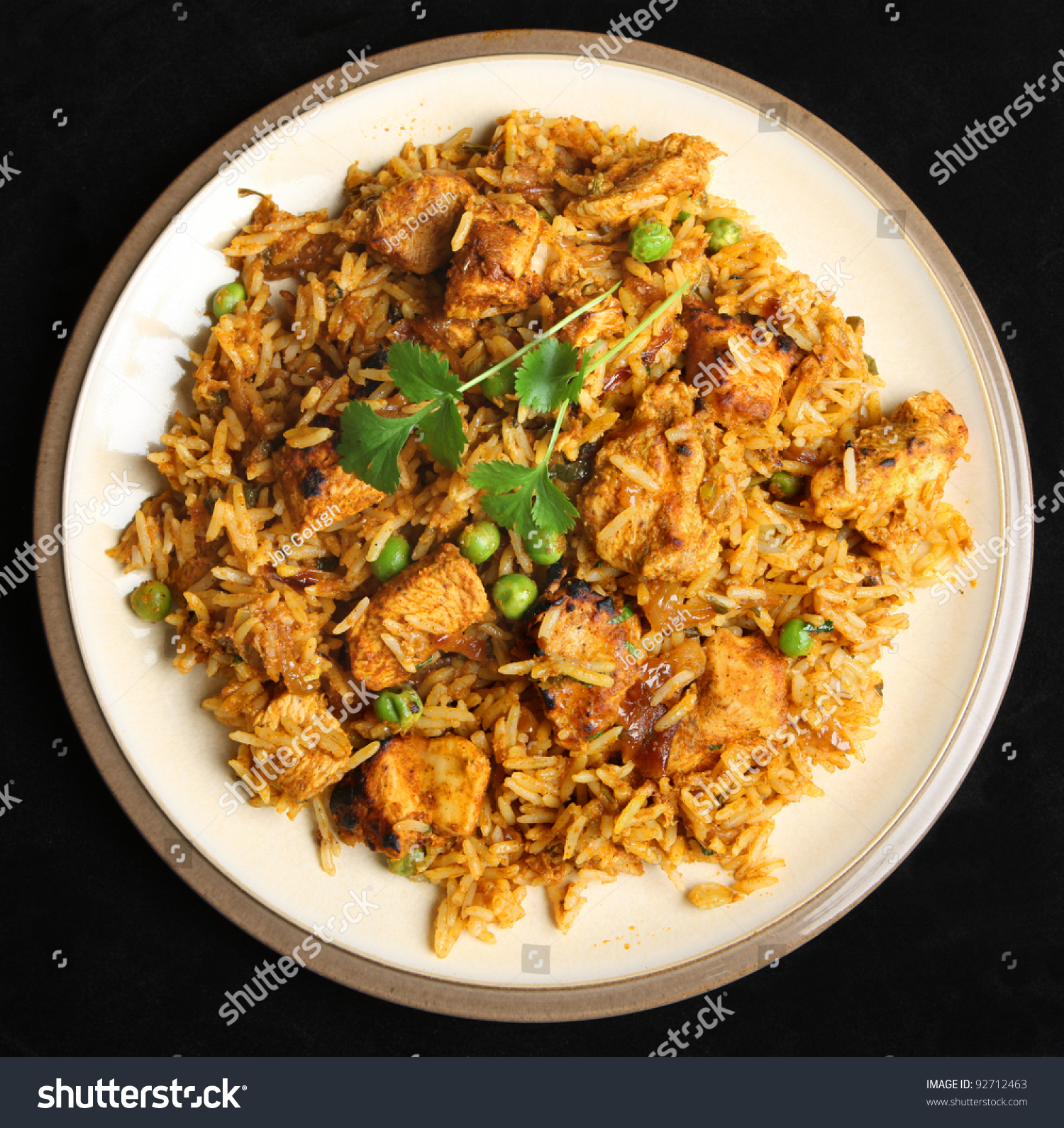 Plate With Food Top View Indian Chicken Tikka Briyani Meal Stock Photo 92712463