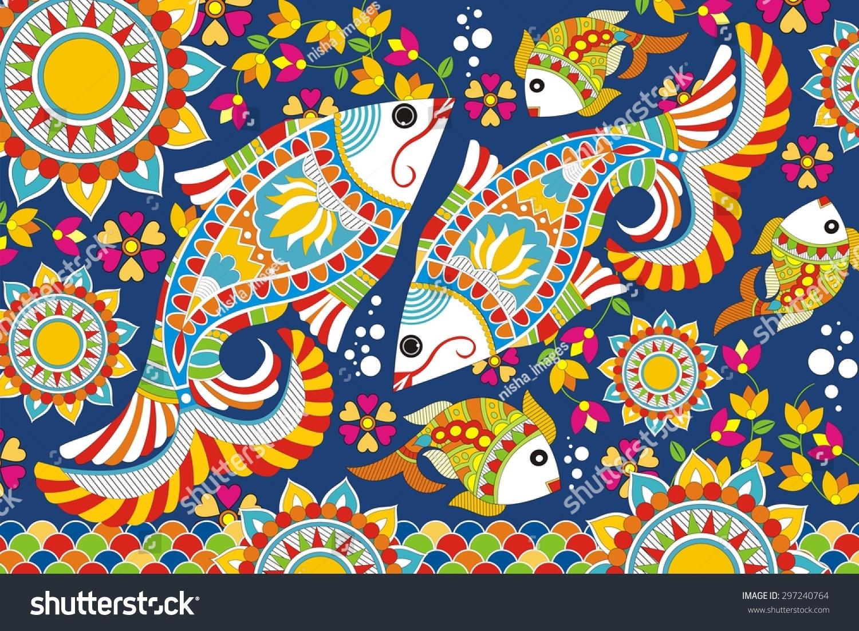 Krishna And Radha 3d Wallpaper Download Madhubani Painting Wallpapers Gallery