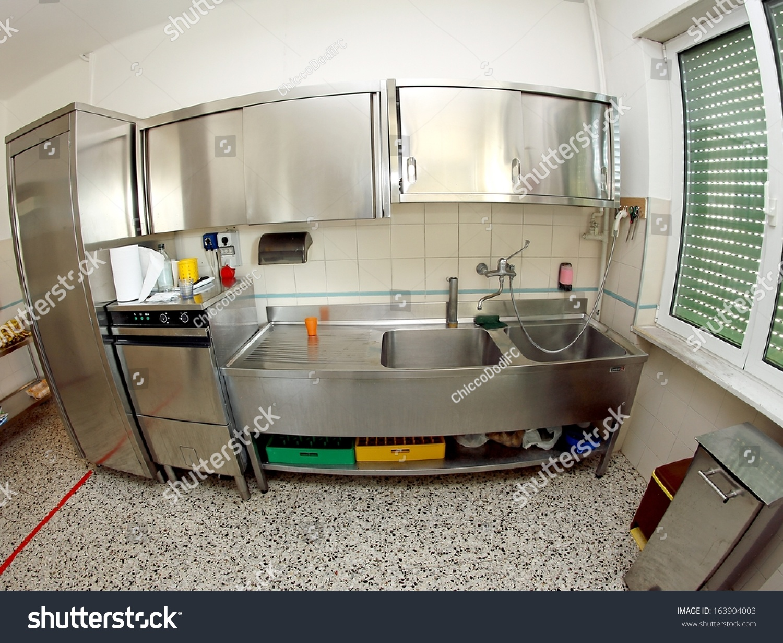 Industrial Stainless Steel Sink Kitchen Of A School