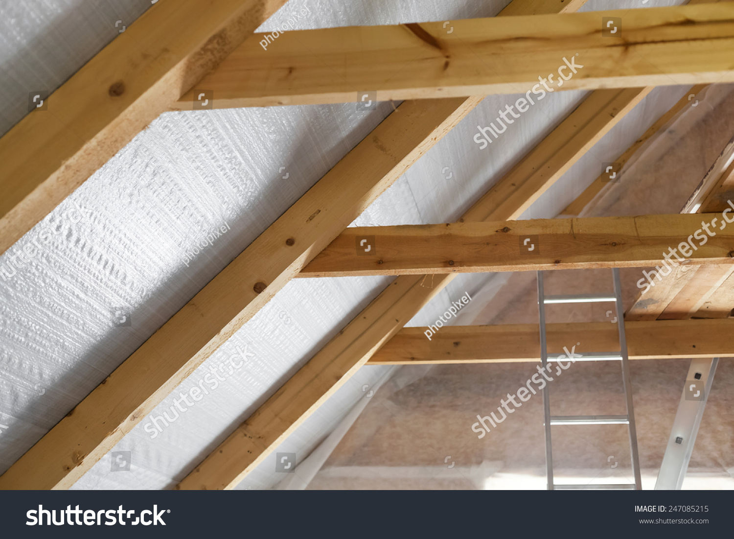 Wandisolierung Innen Inside Wall Insulation In Wooden House Building Under