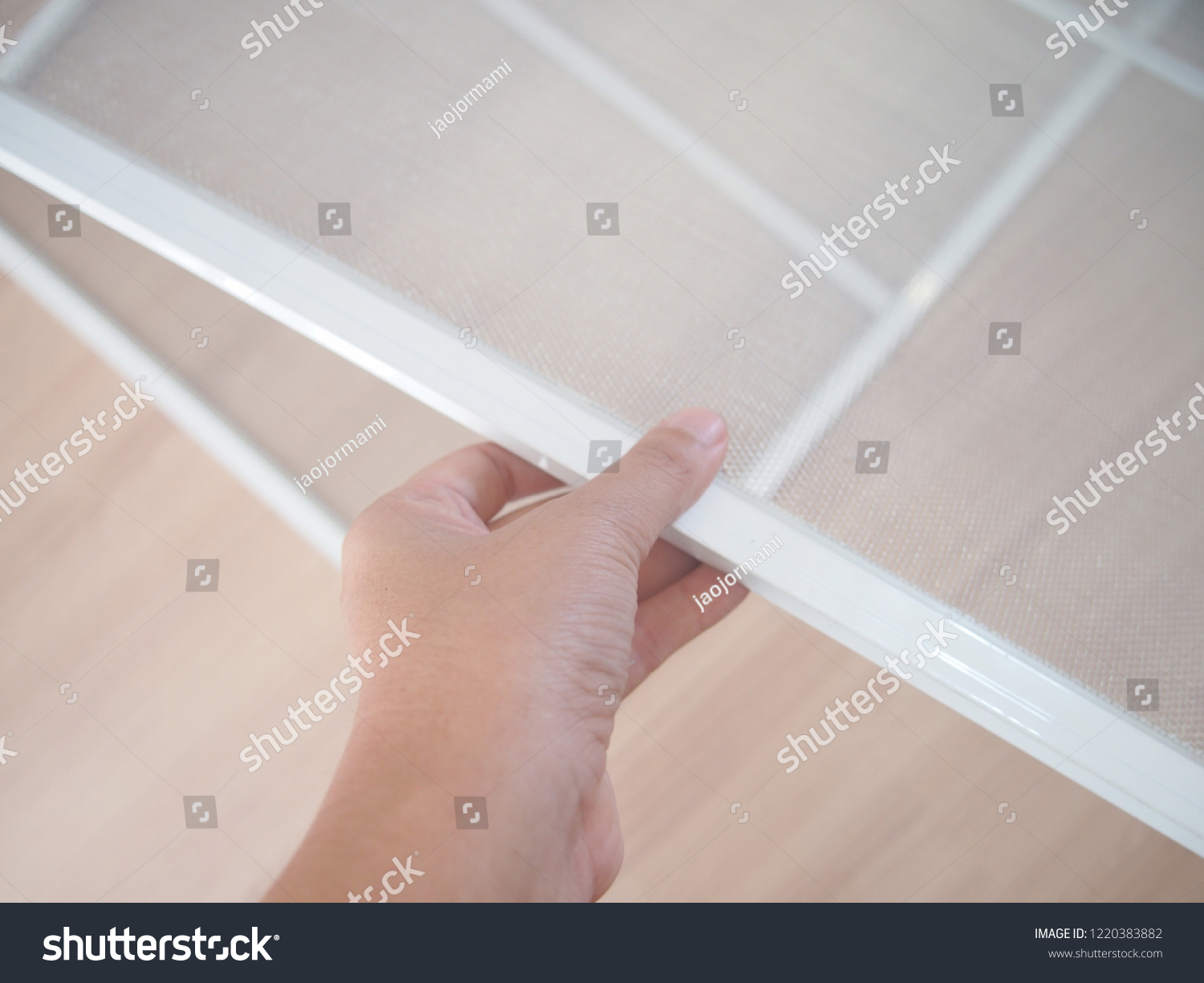 Floor Wire Molding Installing Mosquito Wire Screen Interior Insect Stock Photo Edit