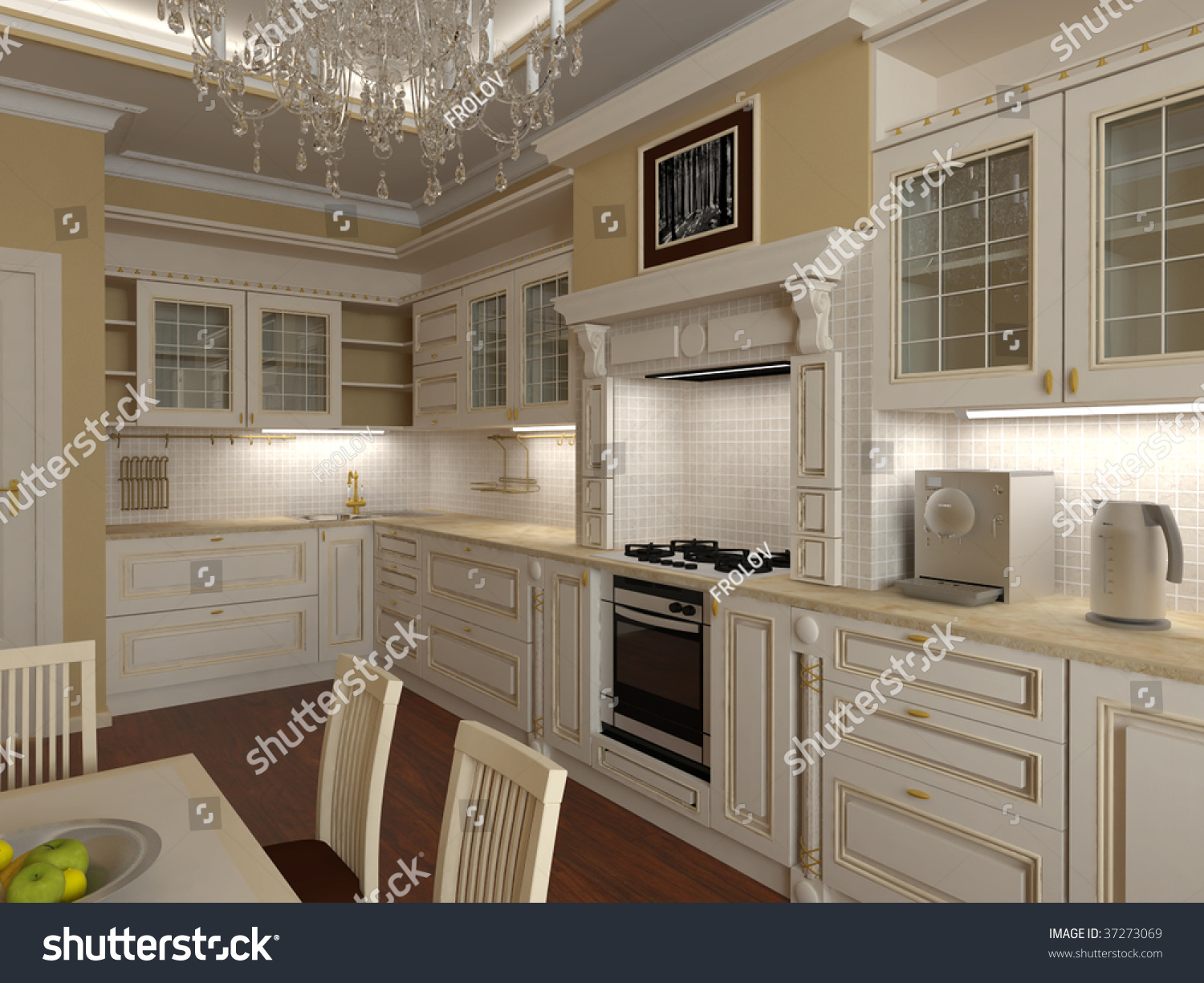 Classical Kitchens Interior Kitchens Classical Style Light Colour Stock Illustration