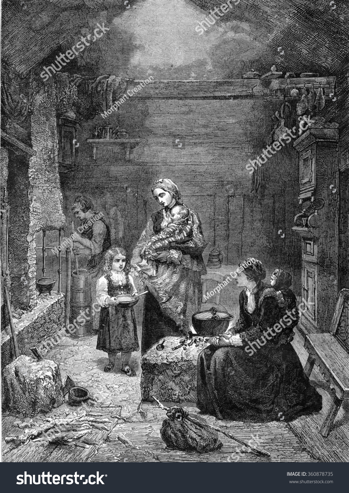 Home Magasin Interior Norwegian Home Vintage Engraved Illustration Stock