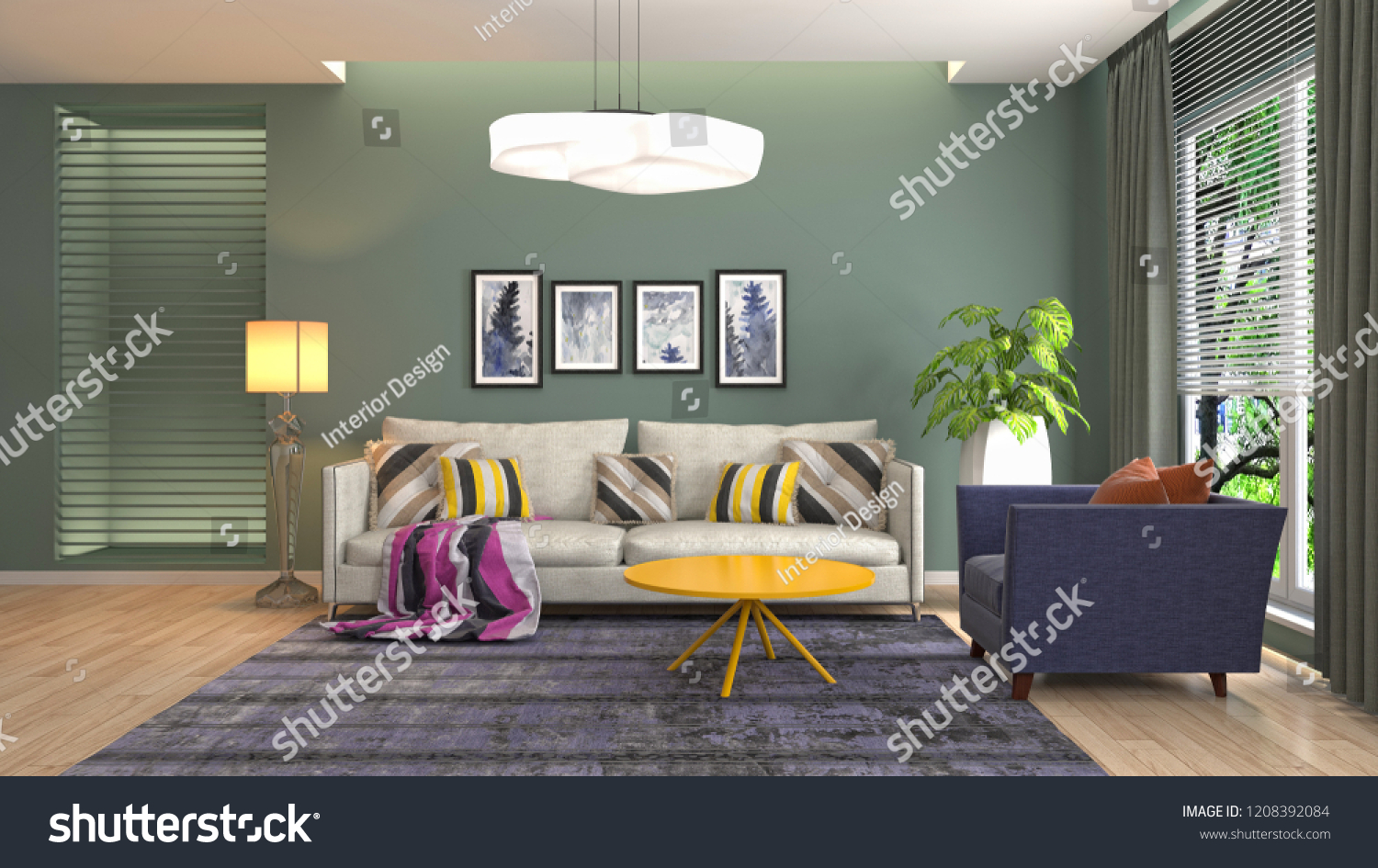 Bettsofa Interio Ch Interior Living Room 3 D Illustration Stock Illustration