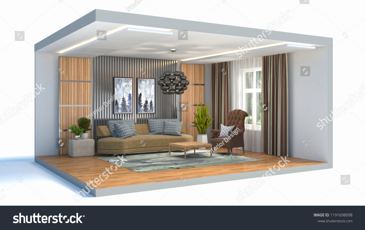Bettsofa Interio Ch Royalty Free Stock Illustration Of Interior Living Room Box 3 D