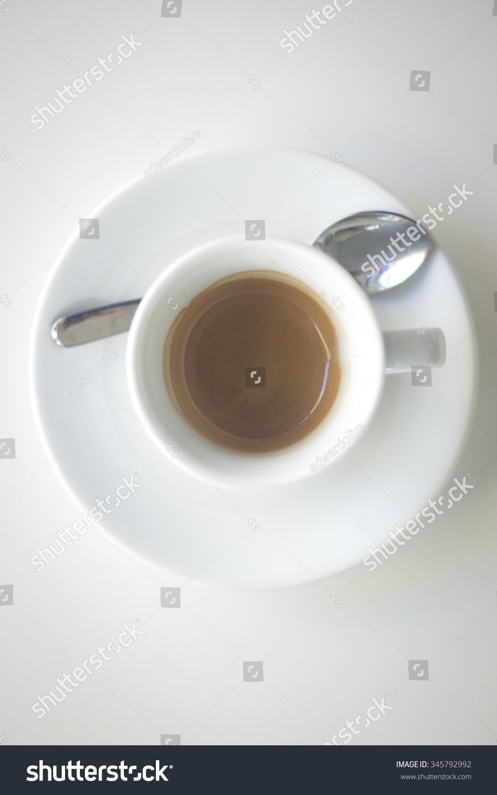 Expresso Café Italian Coffee Expresso Cup Spoon Saucer Stock Photo Edit Now