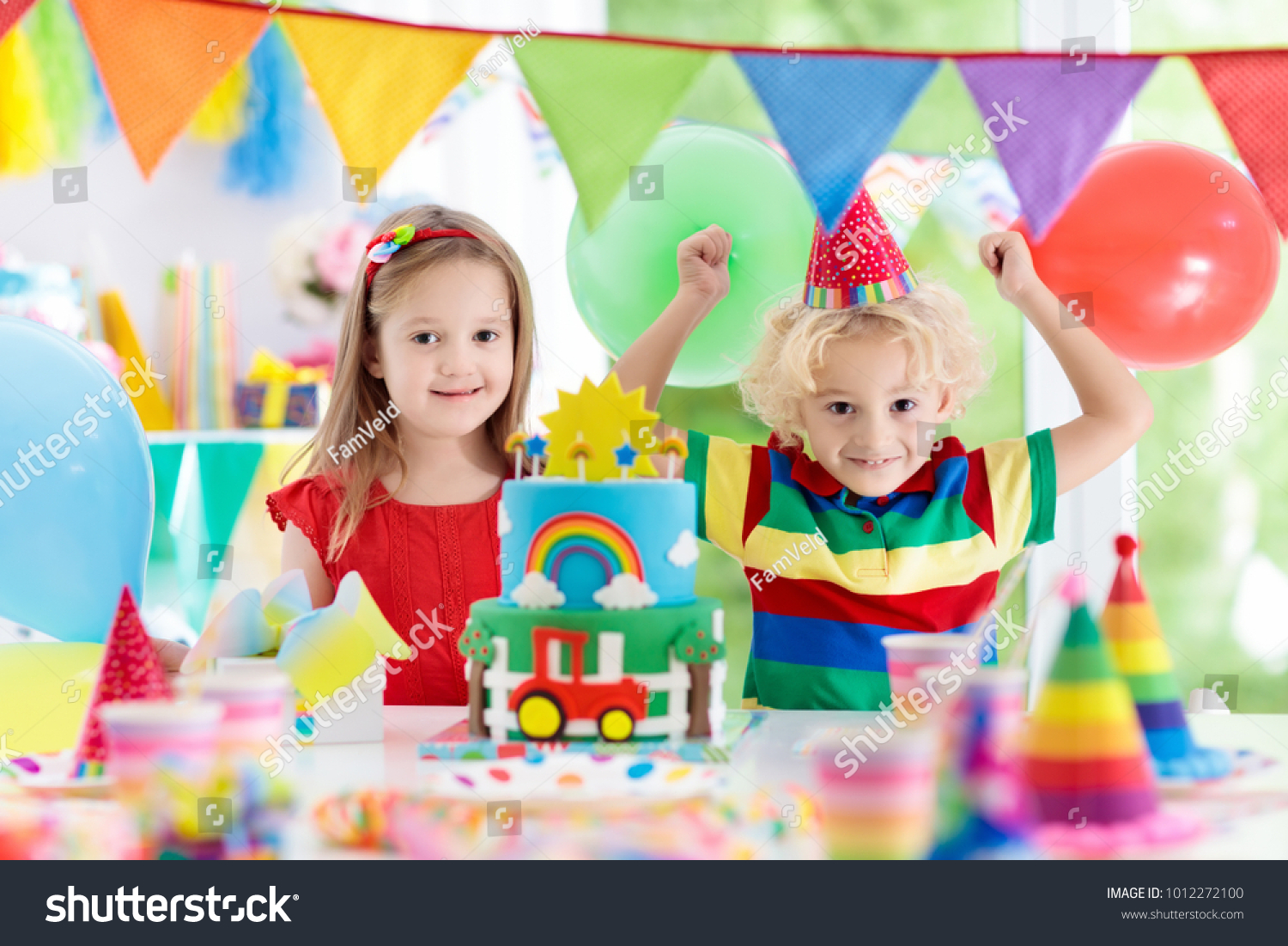 Little Kid Birthday Party Kids Birthday Party Child Blowing Out Stock Photo Edit Now