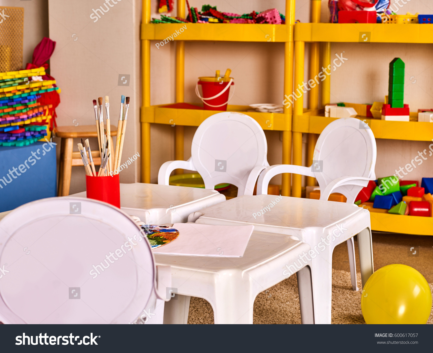 Art Decoration Class Kindergarten Tables Chairs Interior Decoration Shelves Stock