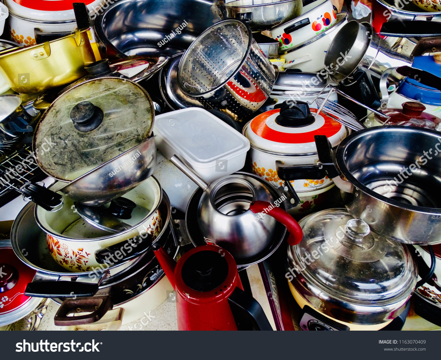 Kitchenware Shop Kitchenware Background Cookware Not Organized Old Stock Photo