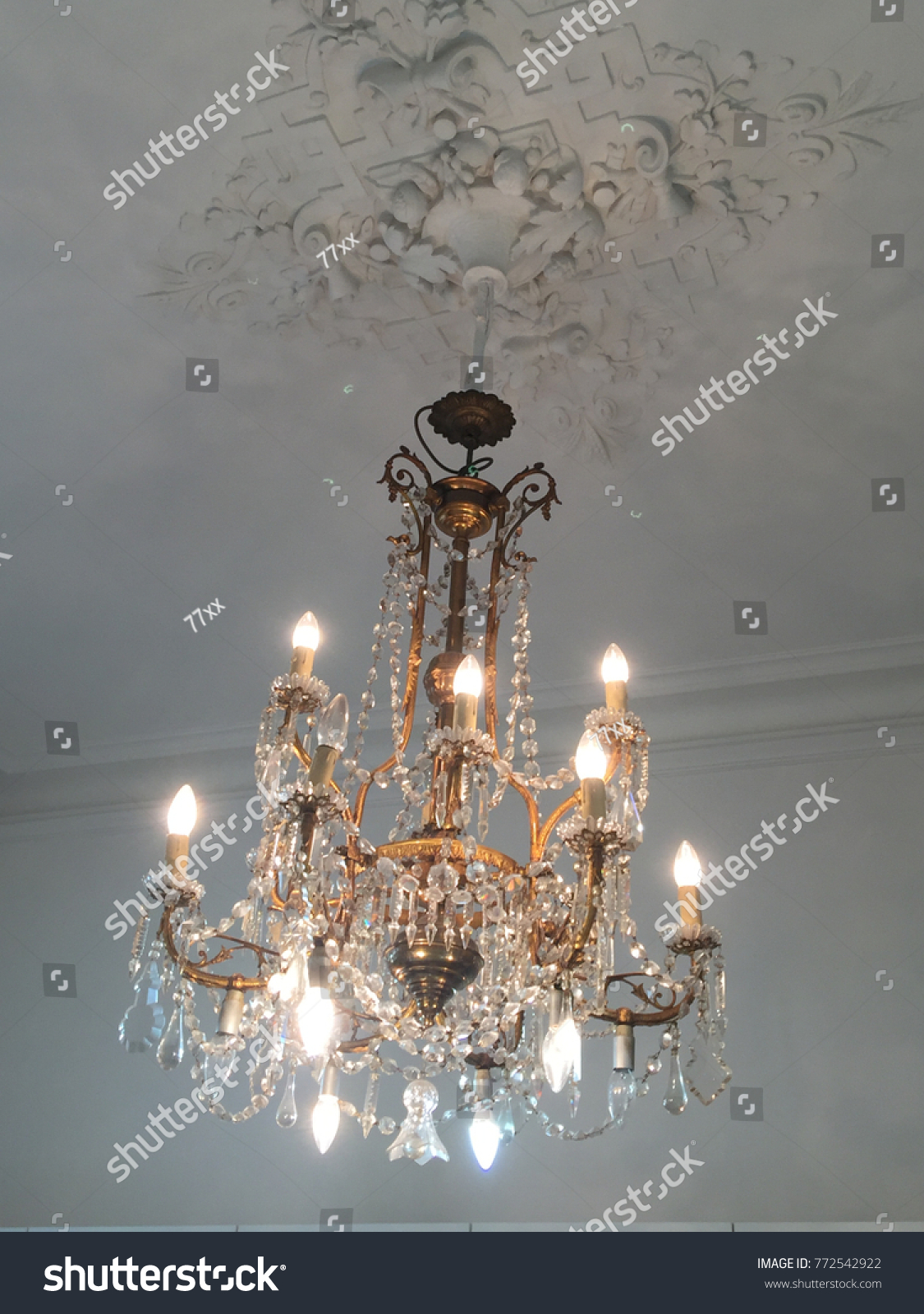 Luster Lampe Lampe Chandelier Luster Ceiling Stucco Stock Photo Edit Now