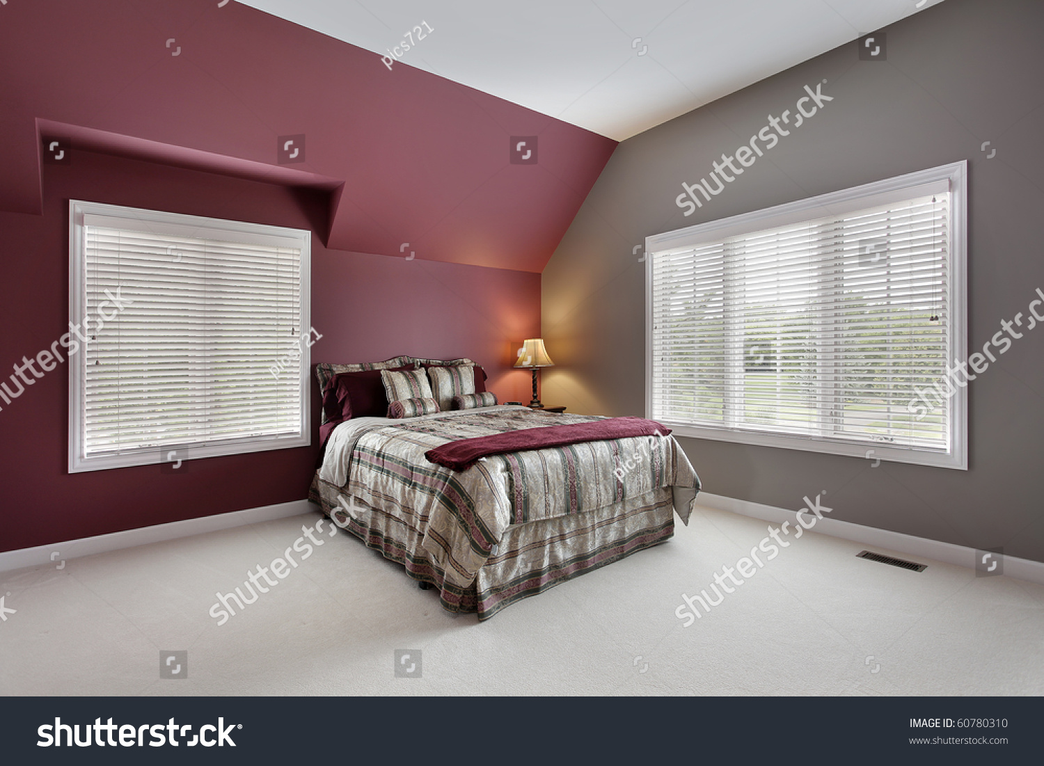 Burgundy And Gray Bedroom Large Bedroom Maroon Gray Walls Stock Photo 60780310