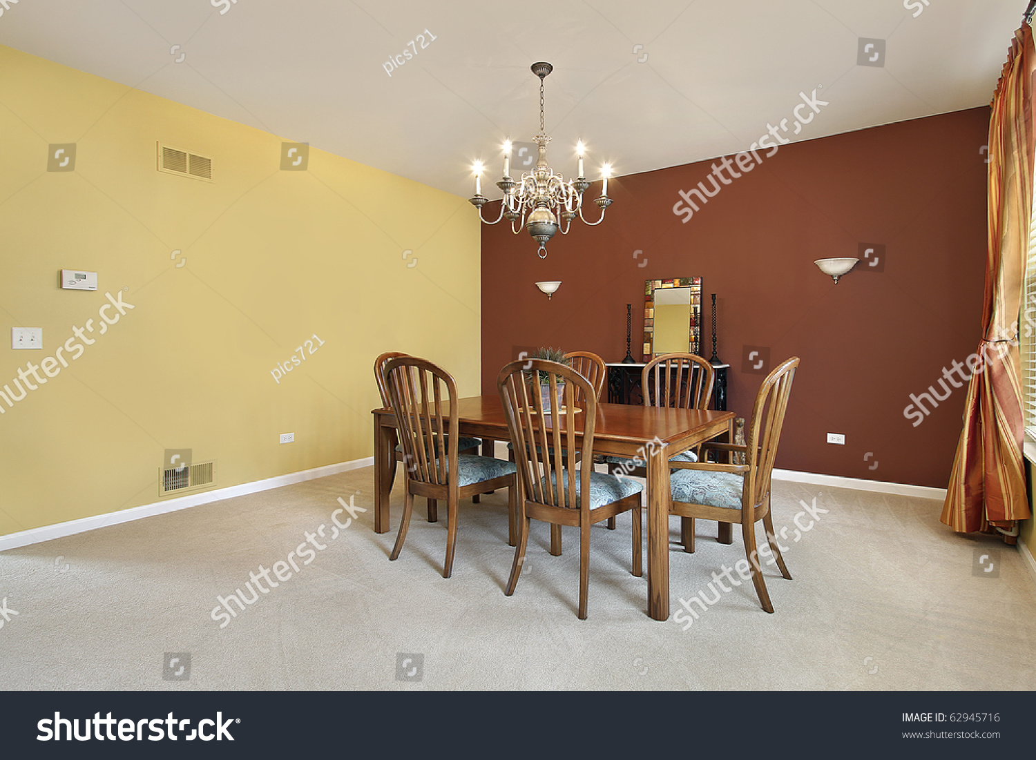 Yellow Dining Room Walls Large Dining Room Yellow Copper Colored Stock Photo