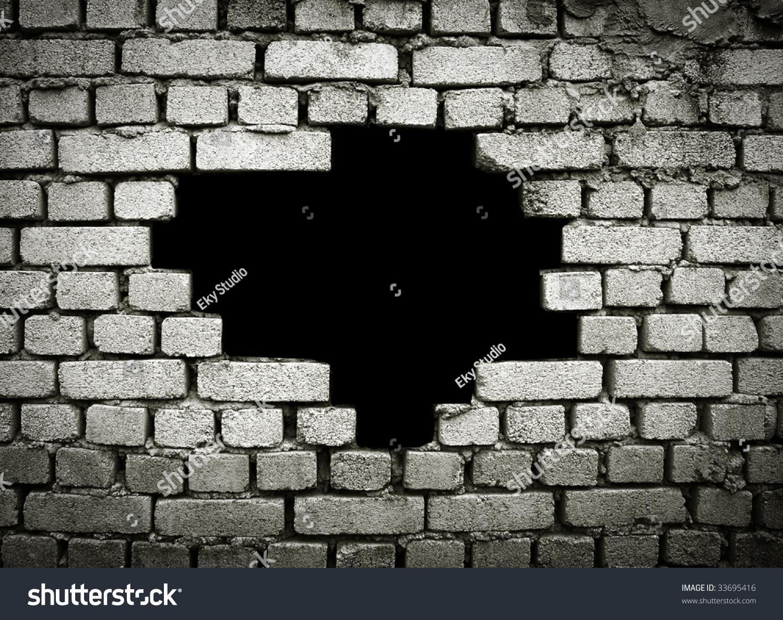 3d Grey Brick Effect Wallpaper Large Hole On Brick Wall Stock Photo 33695416 Shutterstock