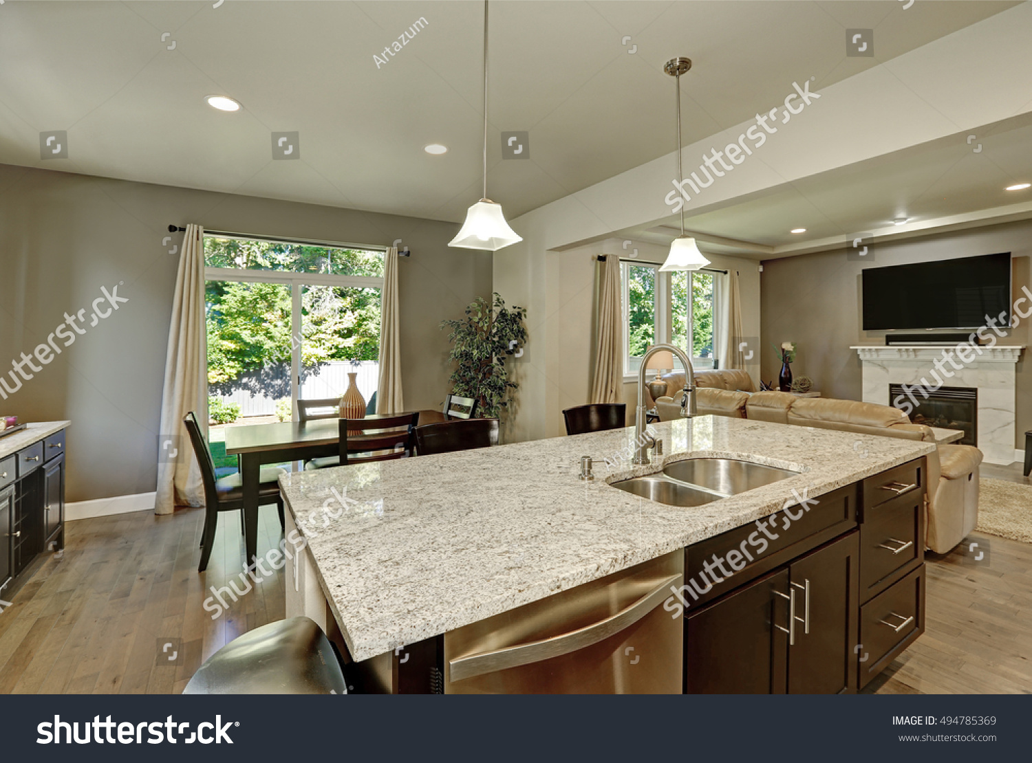 Large Modern Kitchen Island Large Kitchen Island Close Up Has Stock Photo Edit Now 494785369