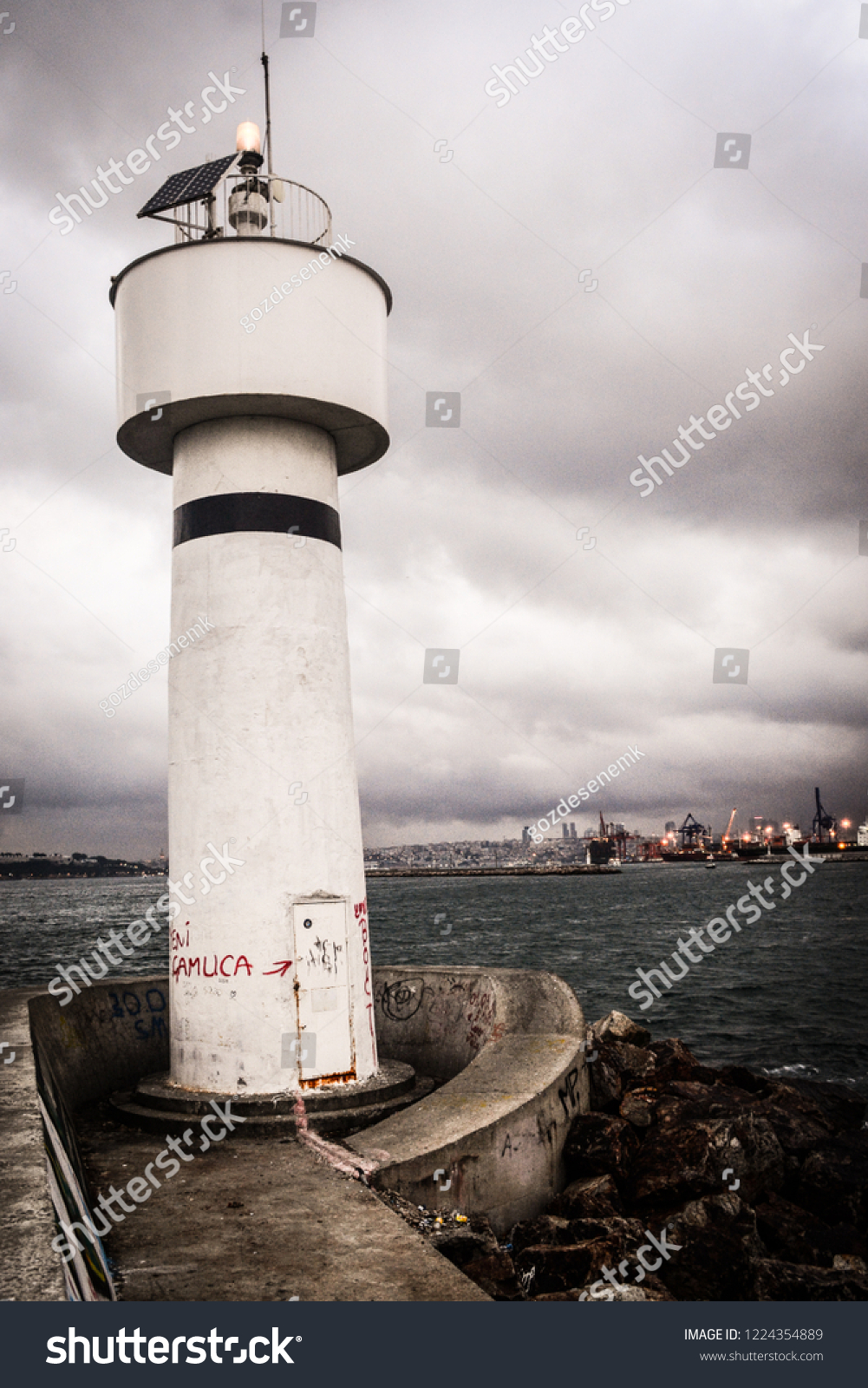 Lighthouse Background Lighthouse Background Turkey Stock Photo Edit Now 1224354889