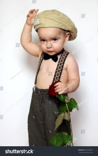 Little Boy Cap Suspenders Bowtie One Stock Photo 364250837 ...