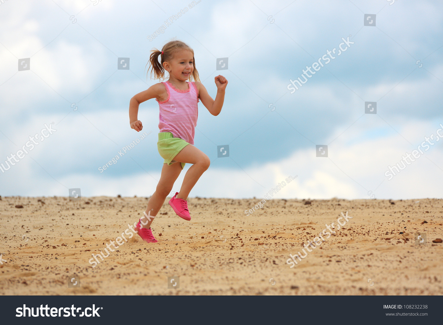 Cute Kid Wallpapers Free Download Little Girl Running Sand Stock Photo 108232238 Shutterstock
