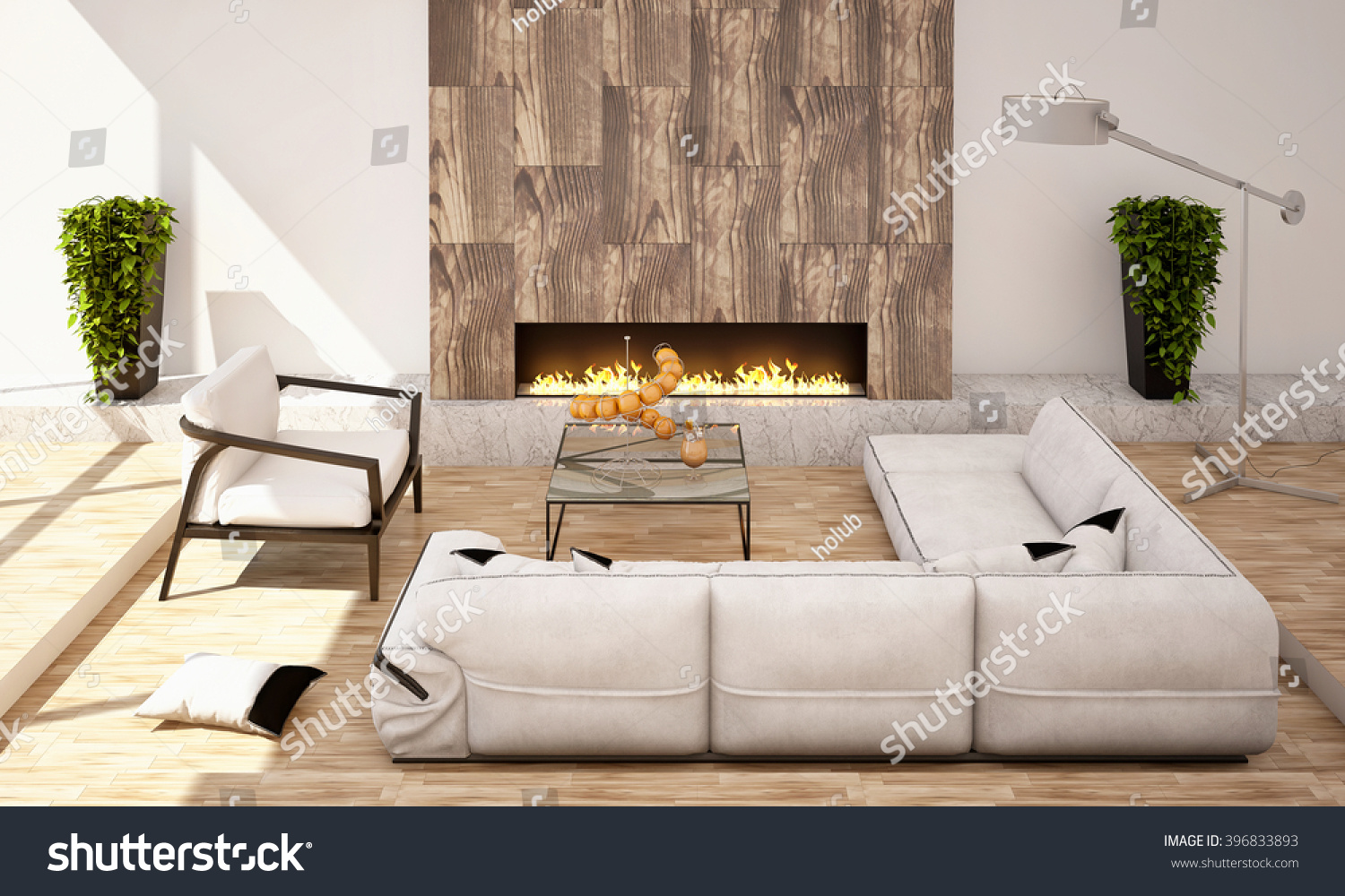 Big Couch Living Room Fireplace Big Sofa Armchair Stock Illustration
