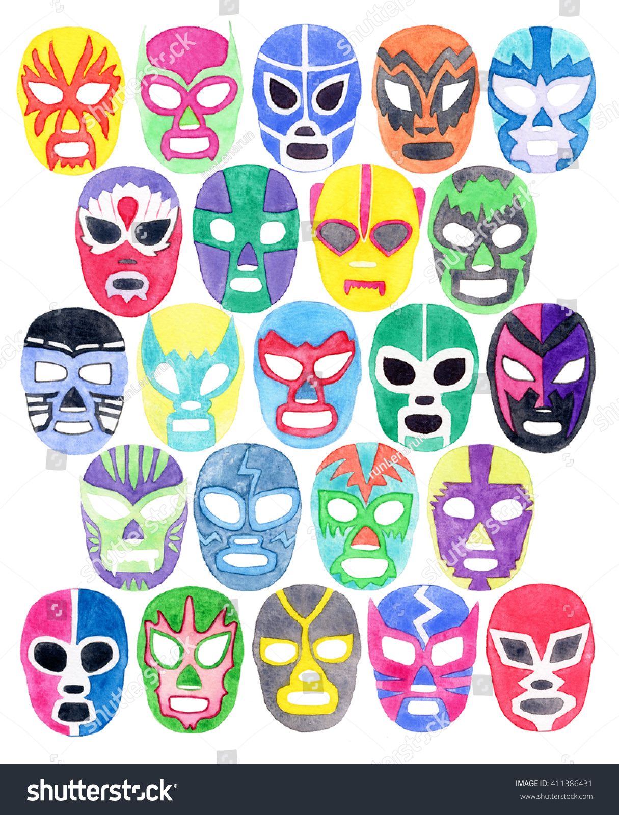 Lucha Libre Real Luchador Or Fighter Mask Set Hand Drawn Lucha Libre Free