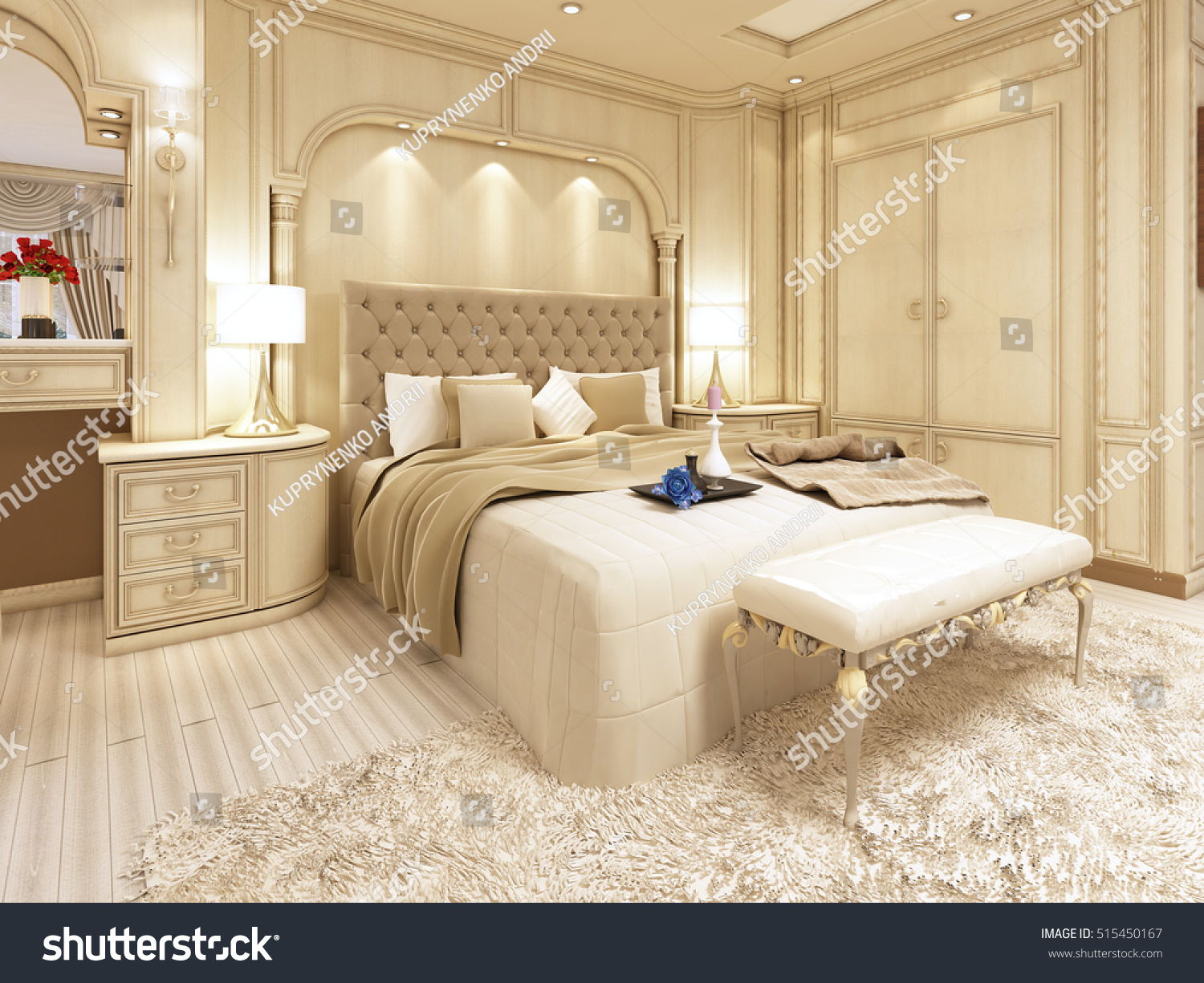 Dressing A Bed Luxury Bed Large Neoclassical Bedroom Decorative Stock