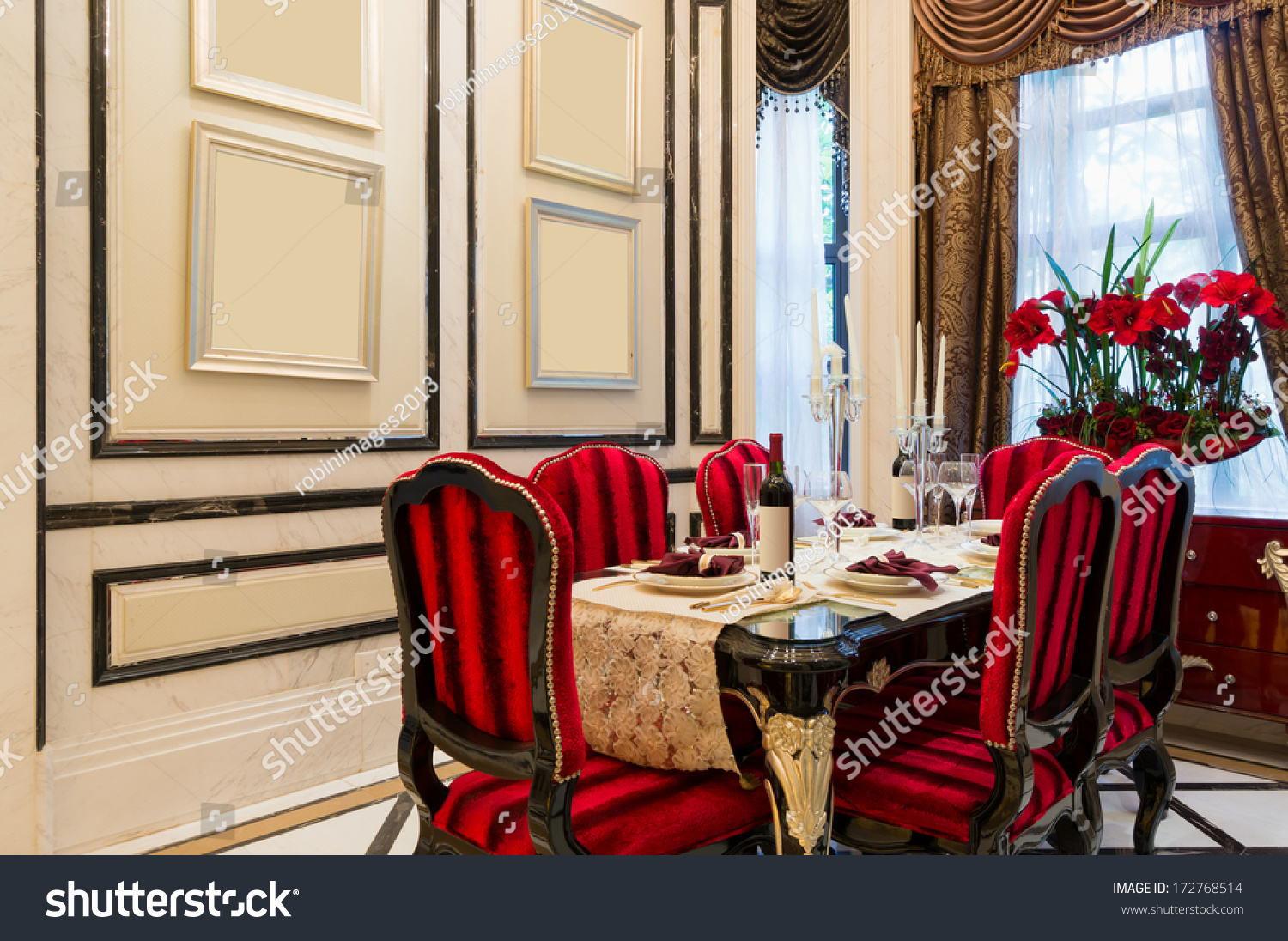 Decoration Nice Luxury Dining Room Very Nice Decoration Stock Photo