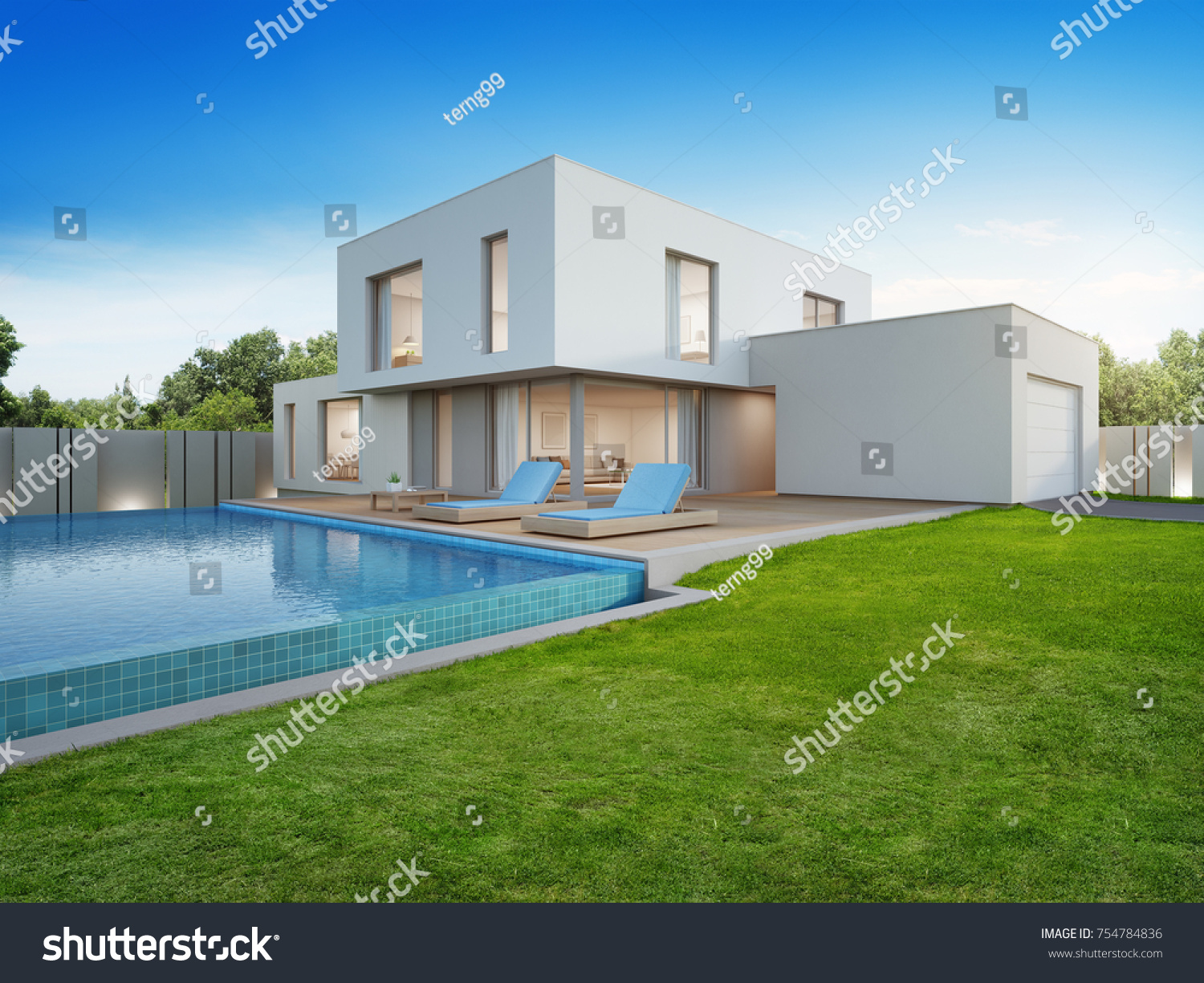 Luxury Holiday Villa With Pool Luxury House Swimming Pool Terrace Near Stock Illustration