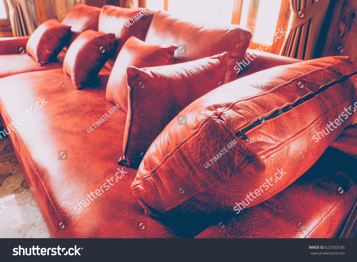 Retro Inflatable Sofa Luxury Leather Sofa Set Perspective View Background Stock Photo