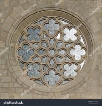 Medieval Gothic Ornate Circular Window Stock Photo