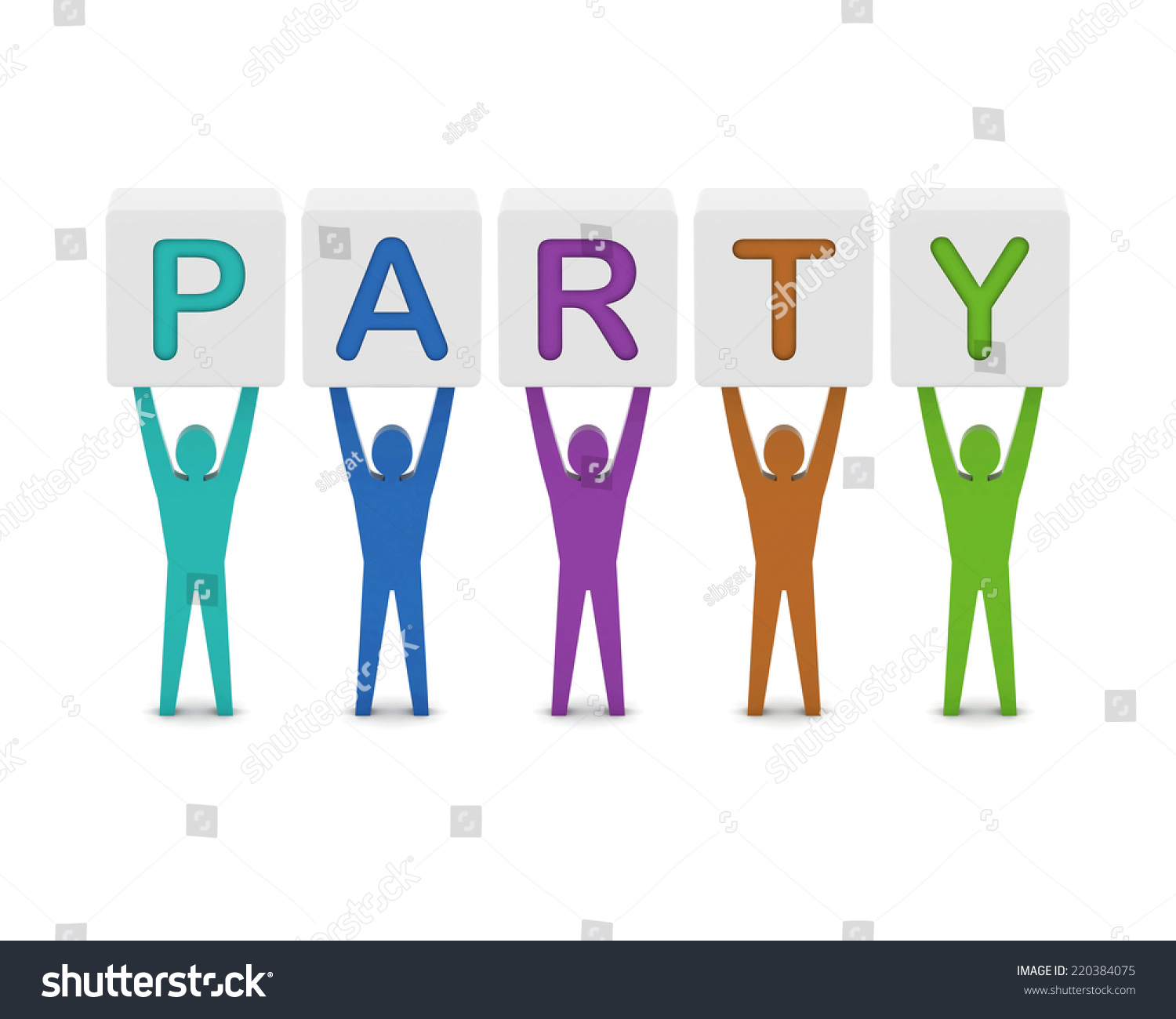 Men holding the word party concept 3d illustration