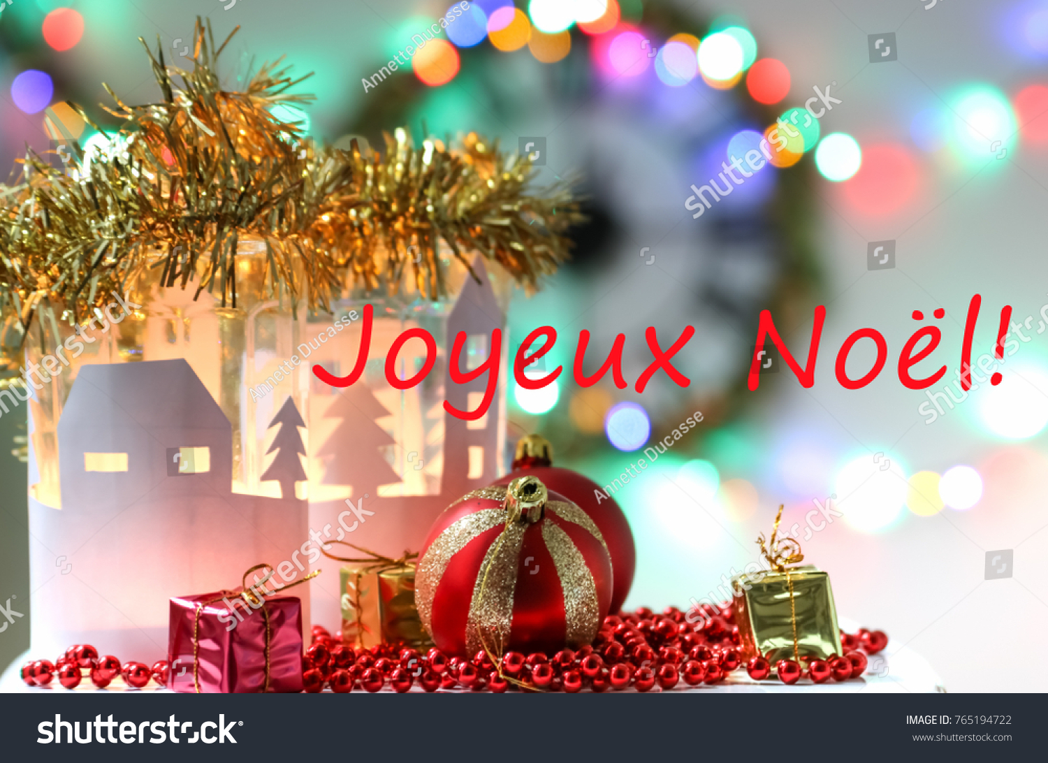 Decoration Francaise Merry Christmas Card Langue Decorative Candlesticks Stock Photo