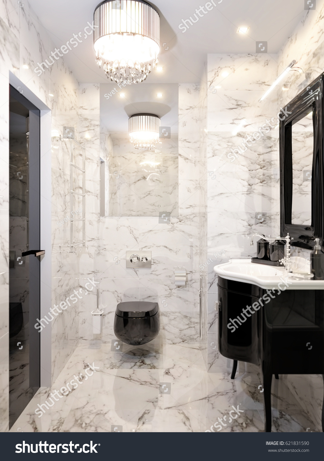 Art Deco Bathroom Modern Art Deco Bathroom Interior Design Stock Illustration