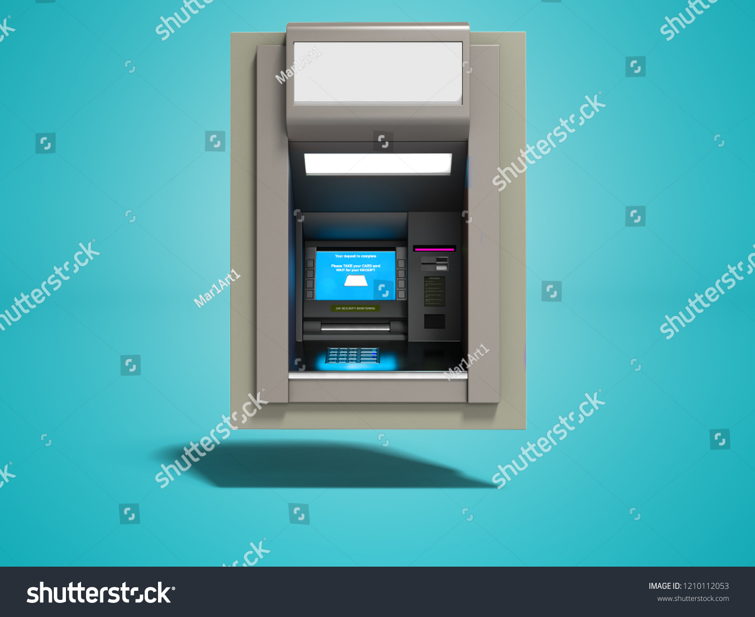 Cash Pool Marl Modern Atm Included Blue Screen 3 D Stock Illustration 1210112053