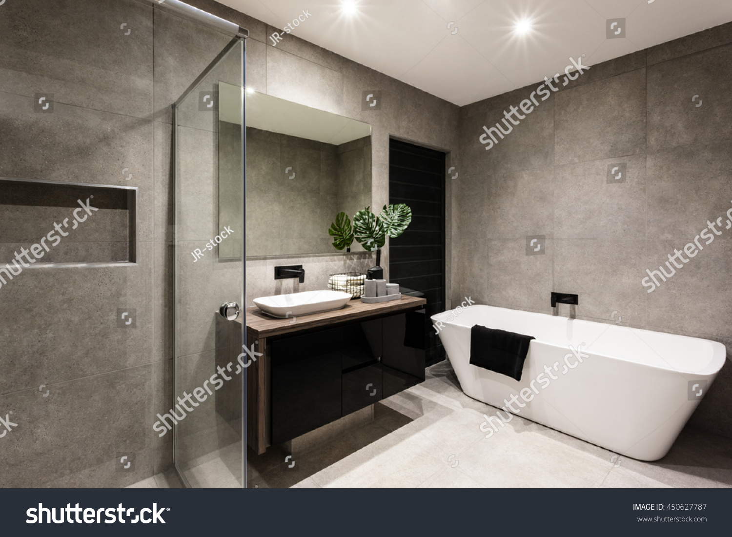 Round Mirror With Light Modern Bathroom Shower Area Bath Tub Stock Photo 450627787
