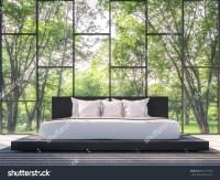 Modern Bedroom Garden View 3d Rendering Stock Illustration ...
