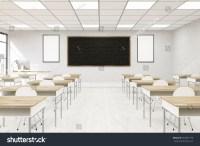 Modern Classroom Interior College Desks Chairs Stock ...
