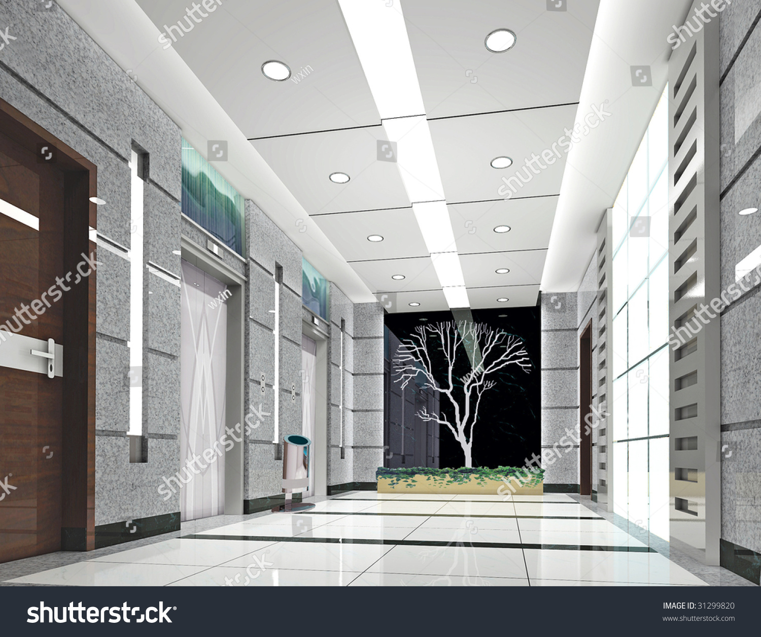 Modern Office Interior Design For Elevator Lobby 3d House Free