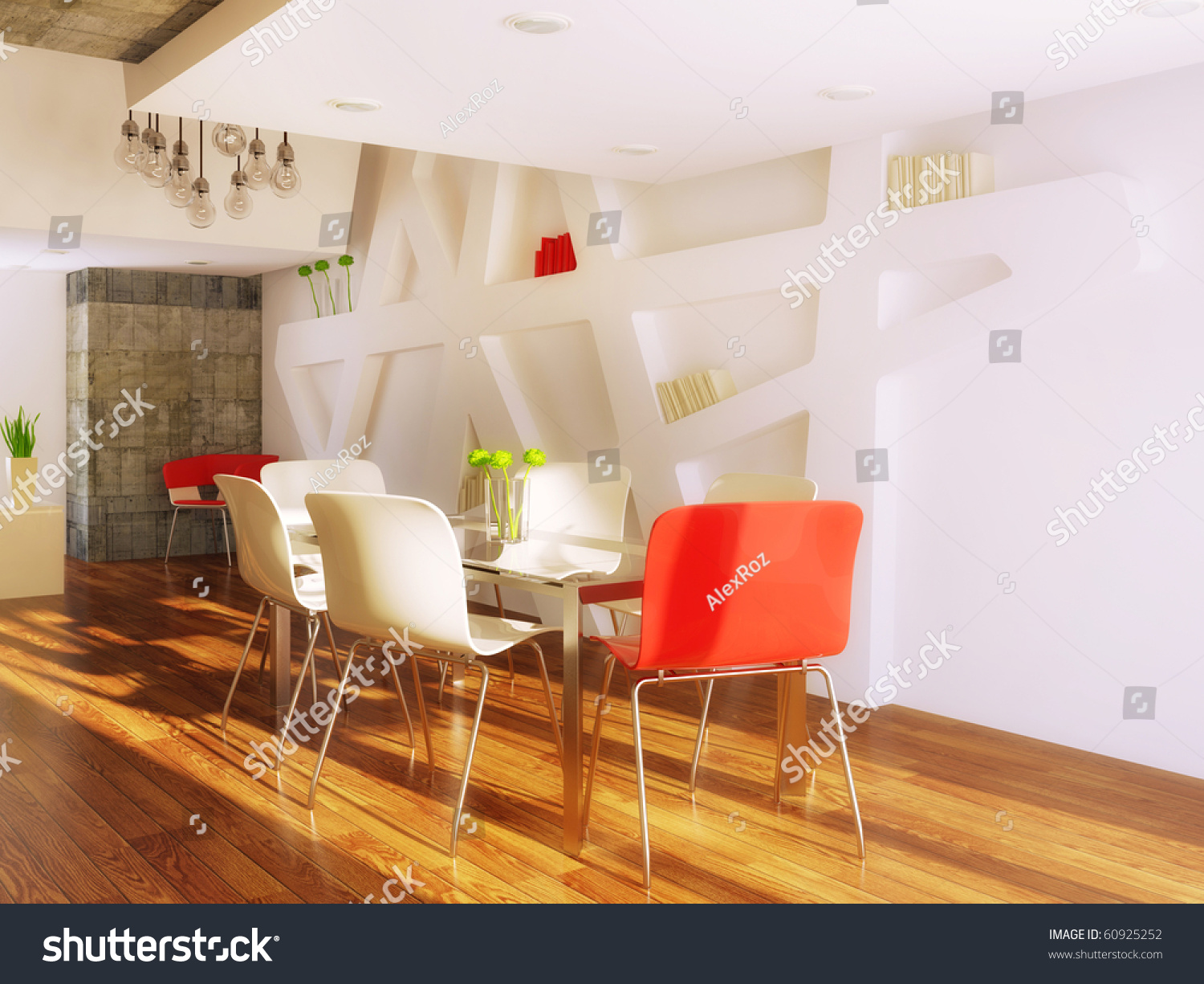 Red And White Dining Room Modern Dining Room With Red And White Furniture Stock