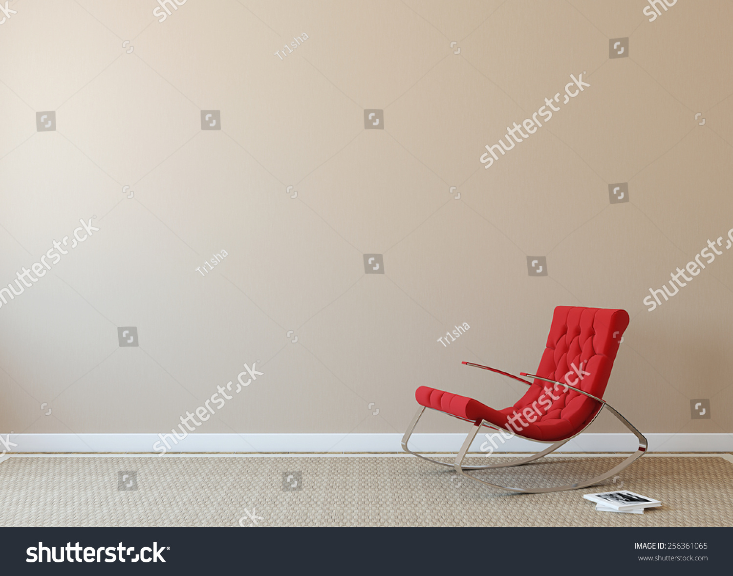 Armchair Near Me Modern Interior Red Armchair Near Beige Stock Illustration