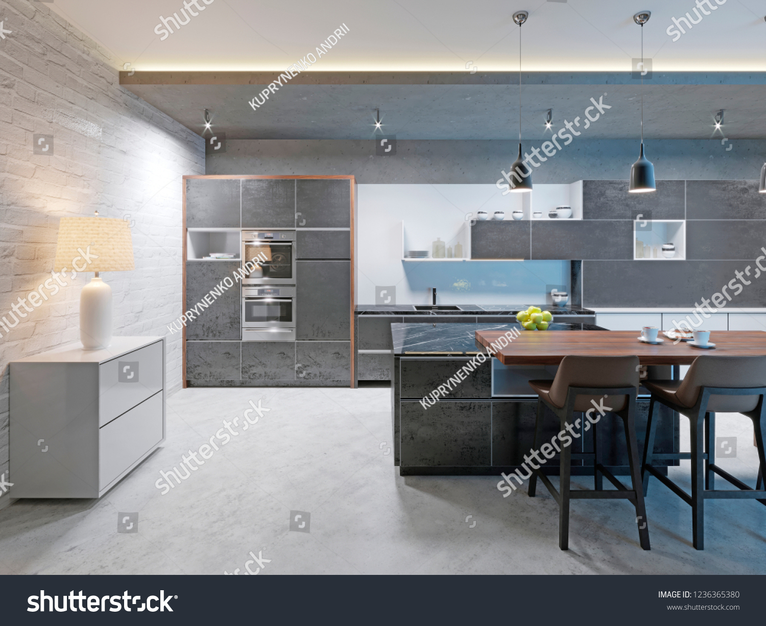 Long Kitchen Design Pictures Modern Kitchen Design Long Center Island Stock Illustration 1236365380