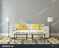 Modern Living-Room Interior With White Couch Near Empty ...