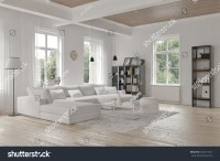 Modern Loft Living Room Interior Monochromatic Stock ...