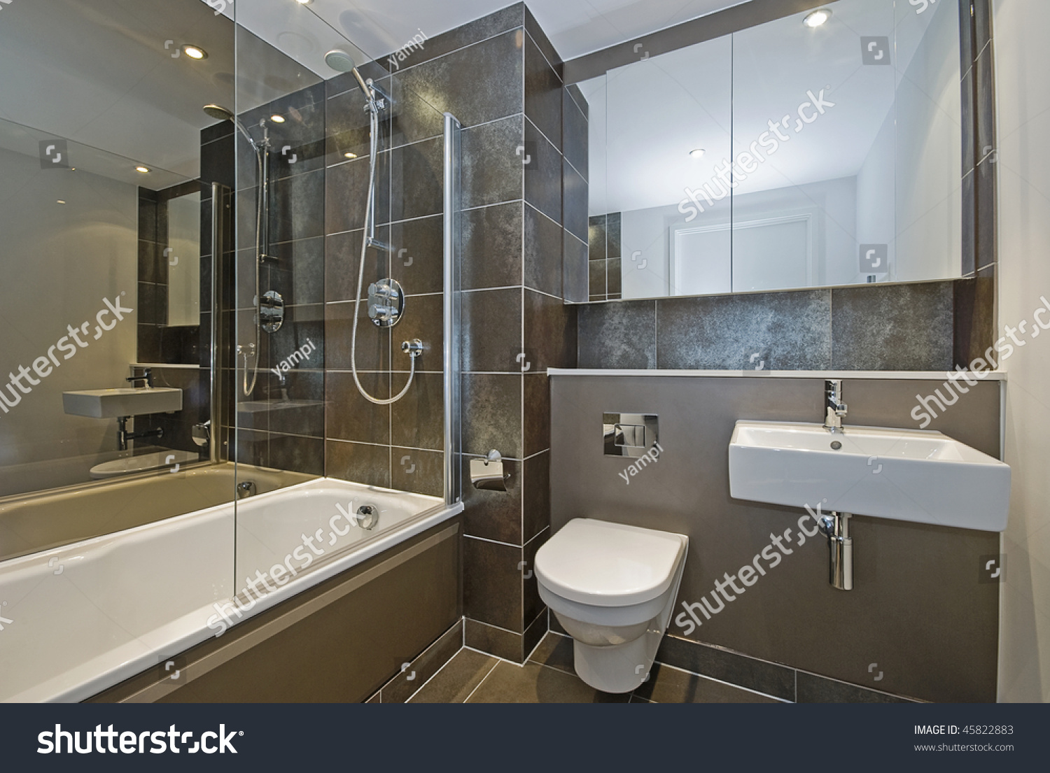 Tod Im Badezimmer Modern Luxury Bathroom Dark Brown Floor Stock Photo