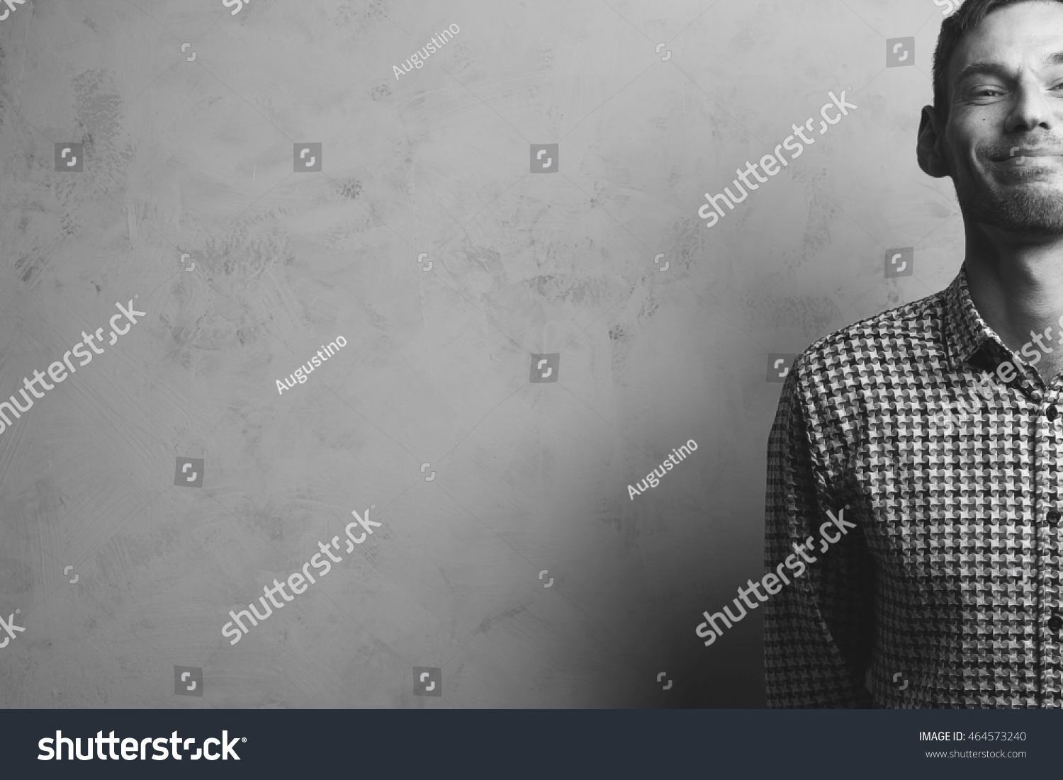 Vintage Bad Copy Monochrome Portrait Smiling Handsome Young Man Stock Photo
